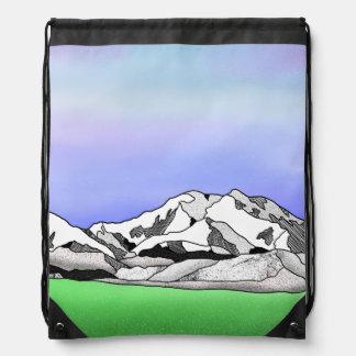 Denali water color line art landscape drawstring bag