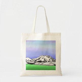 Denali water color line art landscape tote bag