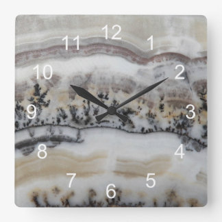Dendritic Agate Pattern Square Wall Clock