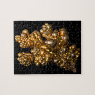 Dendritic Copper Mineral Photo on Black Background Jigsaw Puzzle