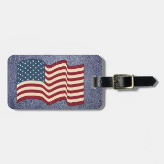 Denim American Flag Luggage Tag Cruise Gift