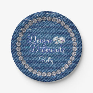 Denim and Diamonds Party  Plates 7 Inch Paper Plate