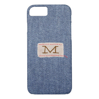 Denim and Fabric Tag Monogram iPhone 8/7 Case