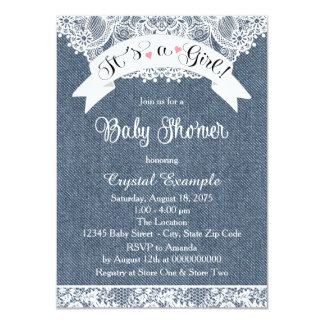 Denim and Lace Baby Shower Card