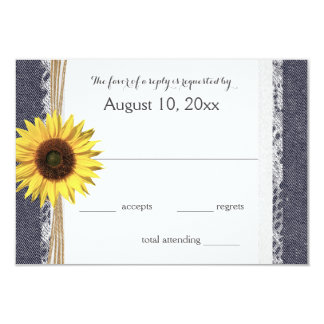 Denim and Lace Sunflower Wedding RSVP Card