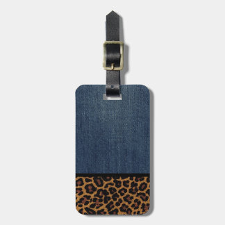Denim and Leopard Bag Tag