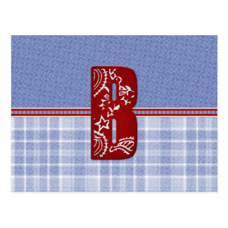 Denim and Plaid Bandana Initial Cards, Postage Postcard