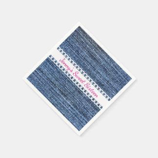 Denim and Ribbon Design Paper Napkins