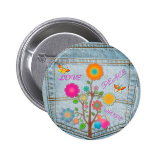 Denim Back Pocket Flowers Peace Love Hope 2 Inch Round Button