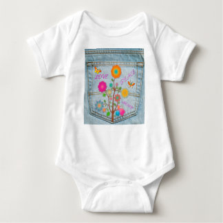 Denim Back Pocket Flowers Peace Love Hope Baby Bodysuit