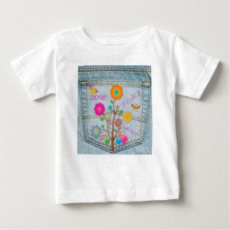 Denim Back Pocket Flowers Peace Love Hope Baby T-Shirt
