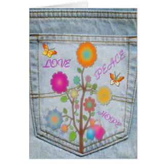 Denim Back Pocket Flowers Peace Love Hope Card