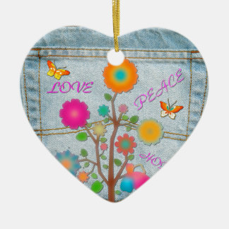 Denim Back Pocket Flowers Peace Love Hope Ceramic Ornament