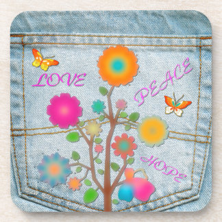 Denim Back Pocket Flowers Peace Love Hope Coaster