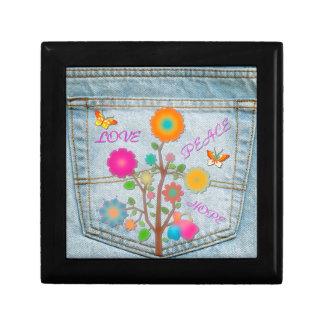 Denim Back Pocket Flowers Peace Love Hope Gift Box