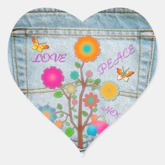 Denim Back Pocket Flowers Peace Love Hope Heart Sticker
