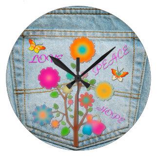 Denim Back Pocket Flowers Peace Love Hope Large Clock