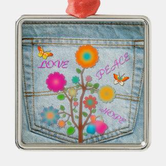Denim Back Pocket Flowers Peace Love Hope Metal Ornament