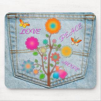 Denim Back Pocket Flowers Peace Love Hope Mouse Pad