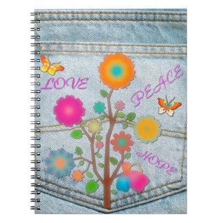 Denim Back Pocket Flowers Peace Love Hope Notebook