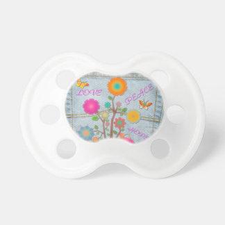 Denim Back Pocket Flowers Peace Love Hope Pacifier