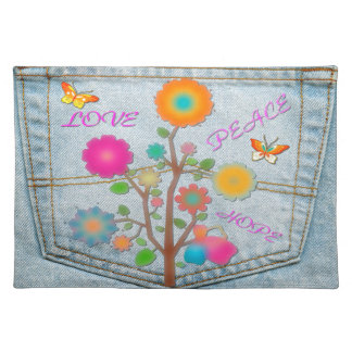 Denim Back Pocket Flowers Peace Love Hope Placemat