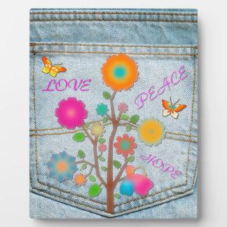 Denim Back Pocket Flowers Peace Love Hope Plaque