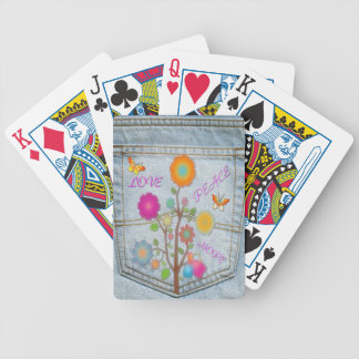 Denim Back Pocket Flowers Peace Love Hope Poker Deck