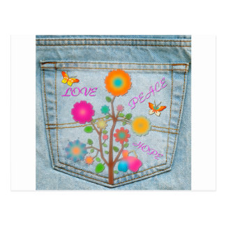 Denim Back Pocket Flowers Peace Love Hope Postcard