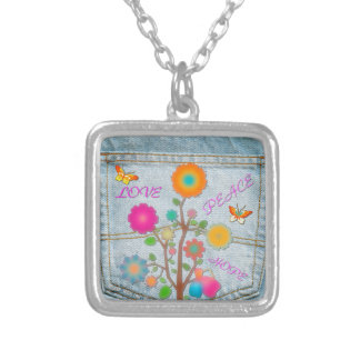 Denim Back Pocket Flowers Peace Love Hope Silver Plated Necklace