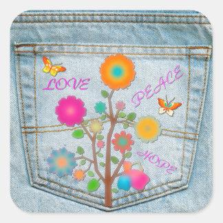 Denim Back Pocket Flowers Peace Love Hope Square Sticker
