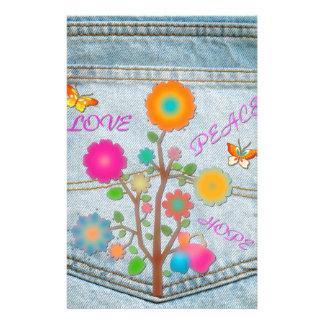 Denim Back Pocket Flowers Peace Love Hope Stationery