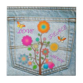 Denim Back Pocket Flowers Peace Love Hope Tile