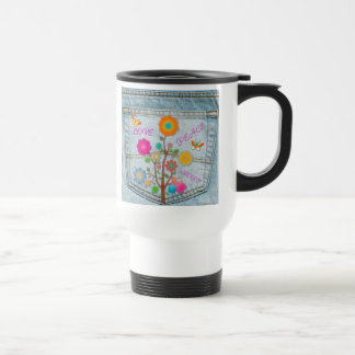 Denim Back Pocket Flowers Peace Love Hope Travel Mug