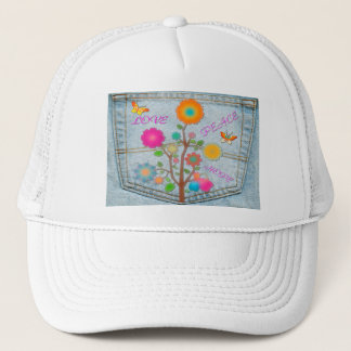 Denim Back Pocket Flowers Peace Love Hope Trucker Hat