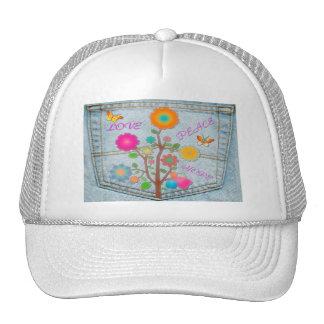 Denim Back Pocket Flowers Peace Love Hope Trucker Hat