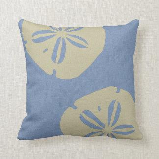 Denim Blue and Beige Sand Dollar Pillow