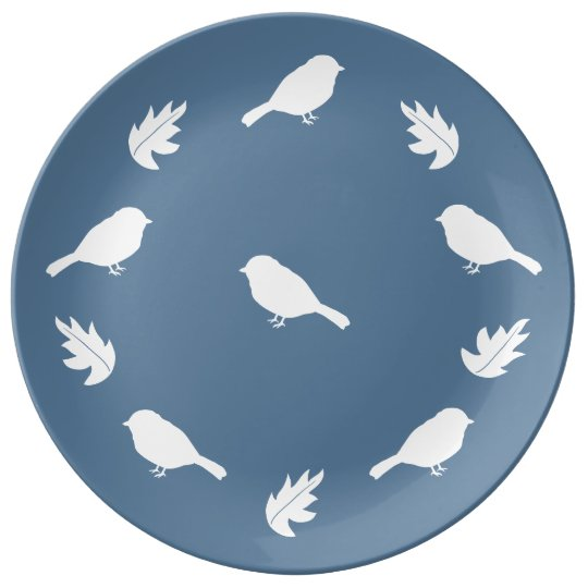 Denim Blue and White Decorative Birds with Leaves Porcelain Plate