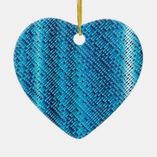 Denim Blue Background Ceramic Ornament