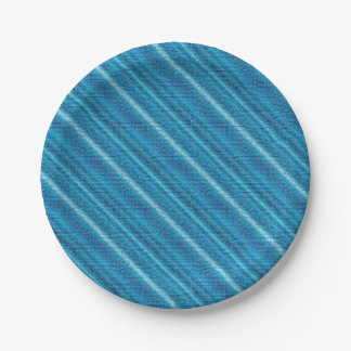 Denim Blue Background Paper Plate