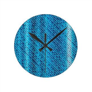 Denim Blue Background Round Clock