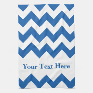 Denim Blue Bold Chevron with customizable text Kitchen Towel