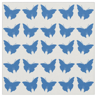 Denim Blue Bold Mod Butterflies Fabric