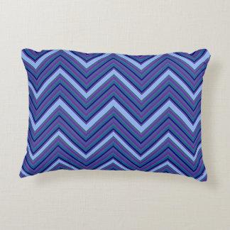 Denim Blue Chevrons Accent Pillow