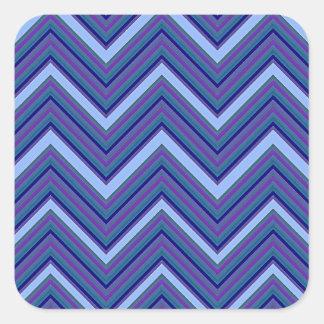 Denim Blue Chevrons Square Sticker