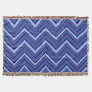 Denim Blue Chevrons Throw Blanket
