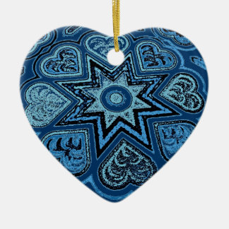 Denim Blue Folk Art Hearts Ornament