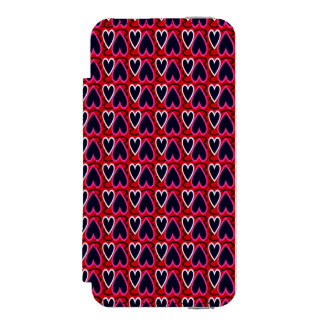 Denim Blue Hearts Pattern Incipio Watson™ iPhone 5 Wallet Case