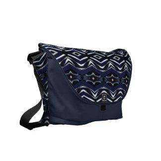 Denim Blue Jean Pink Diamonds and White Pattern Messenger Bag
