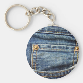 Denim - Blue Jean Pocket Basic Round Button Keychain